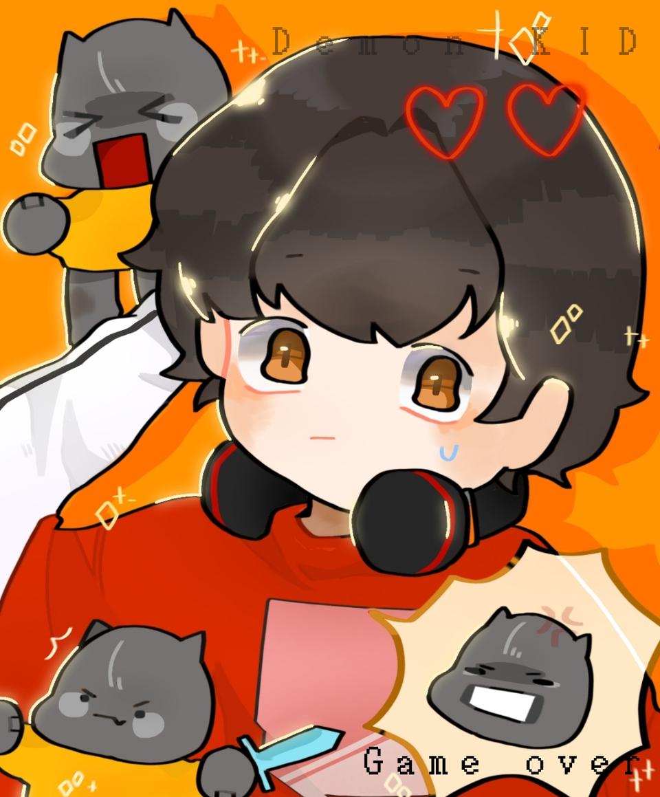 Helooo Illust of Demon KID medibangpaint demon sparkle black boy cute videogame yellow