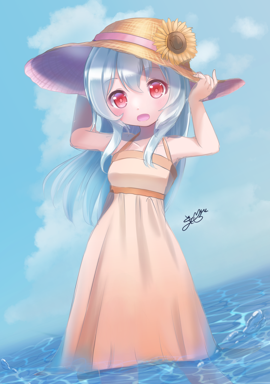 ノワ・ヴァニーユ描かせていただきました Illust of 夢羽 結 medibangpaint summer girl Strawhat kawaii virtual_YouTuber sea