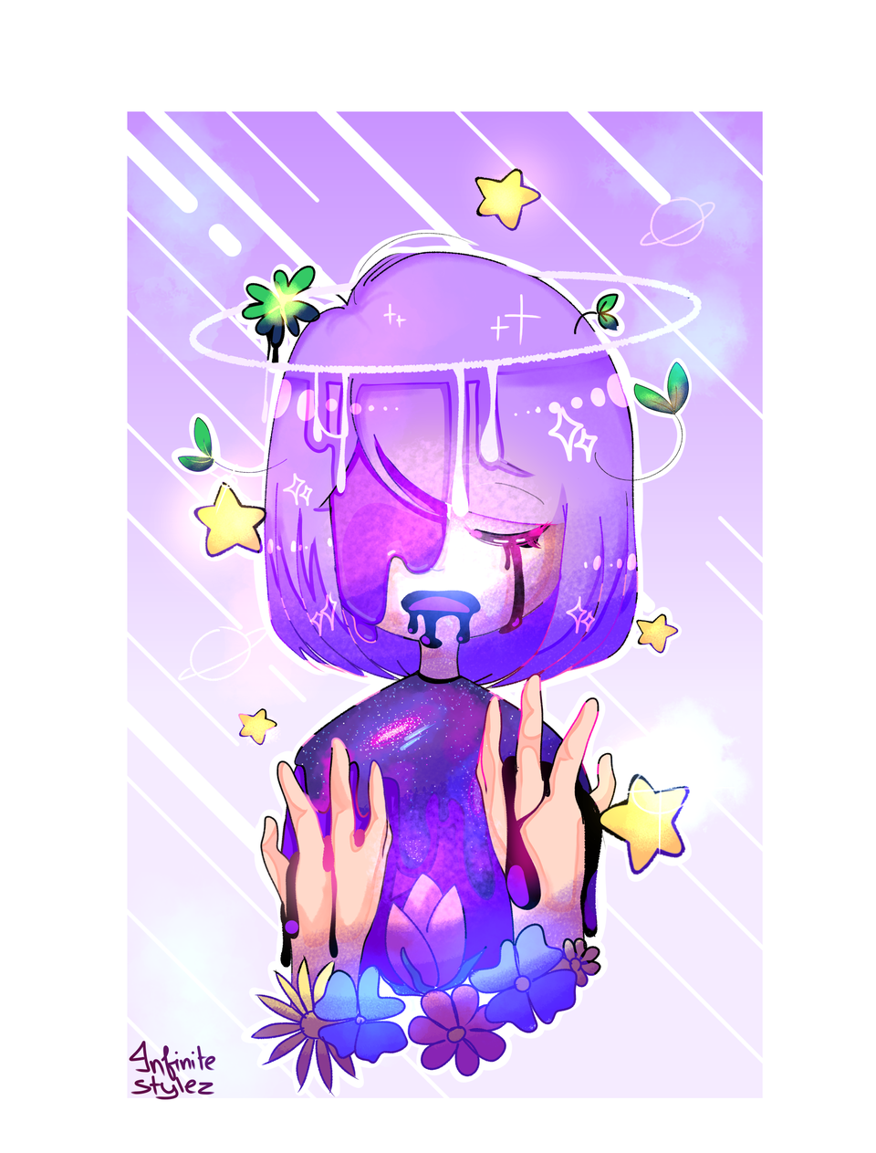 Nature and galaxies  Illust of Infinite stylez galaxy blue infinitestylez flower purple ink star nature