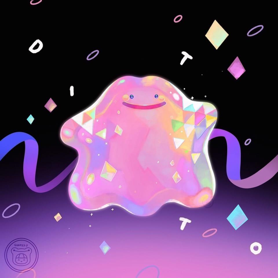 Fancy Ditto Ver 1 💕  Illust of Gummy.yy pokemonart Ditto pokemon cute fanart illustration dreamy illustrations