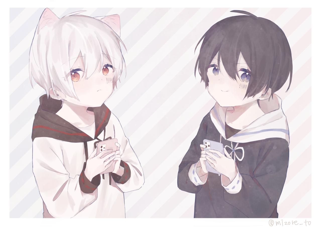 Illust of みぞれ kawaii 黒髪 animal_ears hoodie white_hair