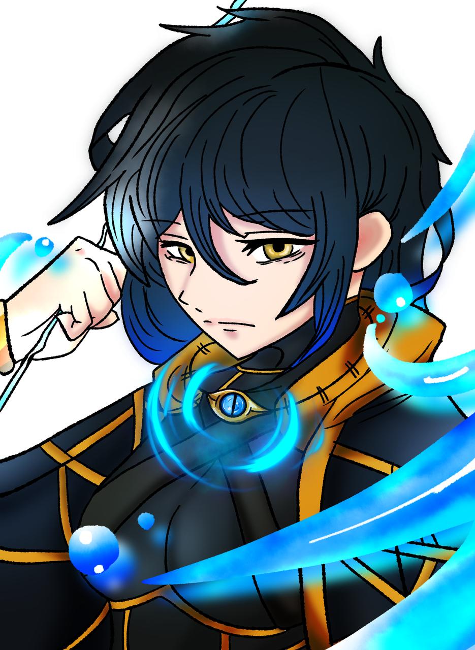 Illust of 侑 blue 魔法 eyes ファンタジー風 girl sea