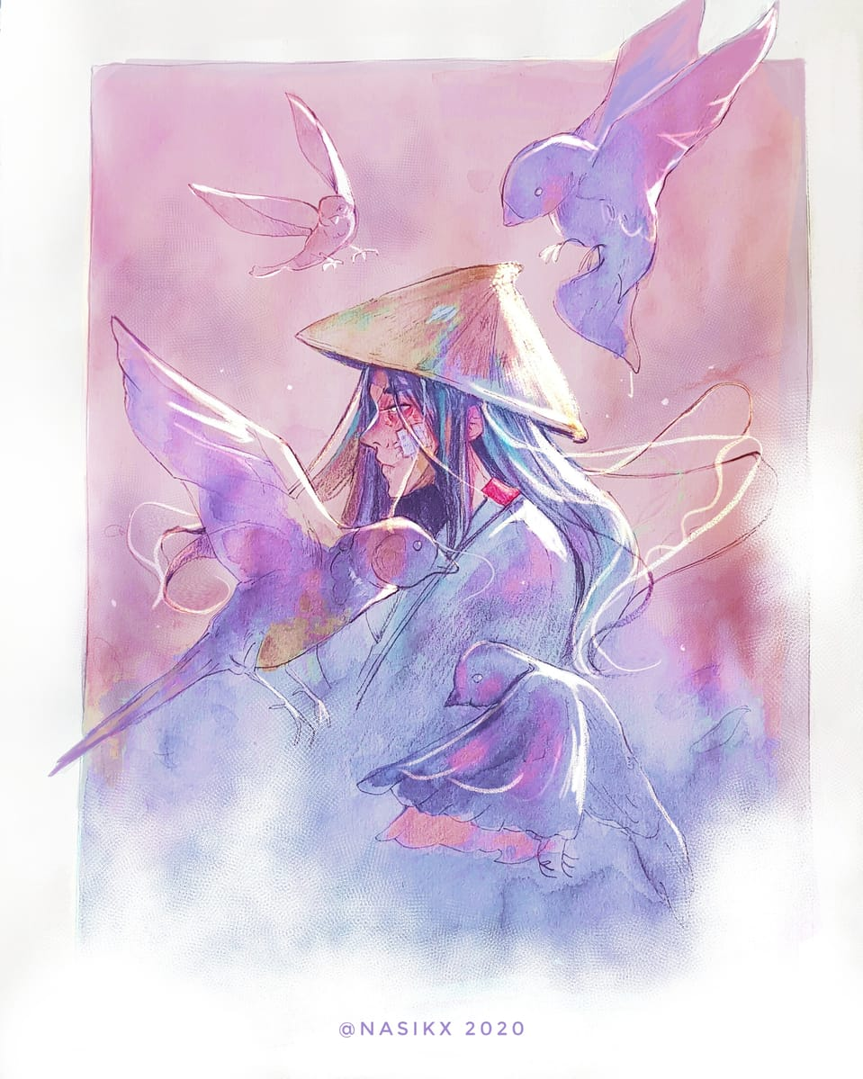 Illust of Nasikx Emo pink watercolor pastelcolors digitalillustration oc birds myoc digitalpainting