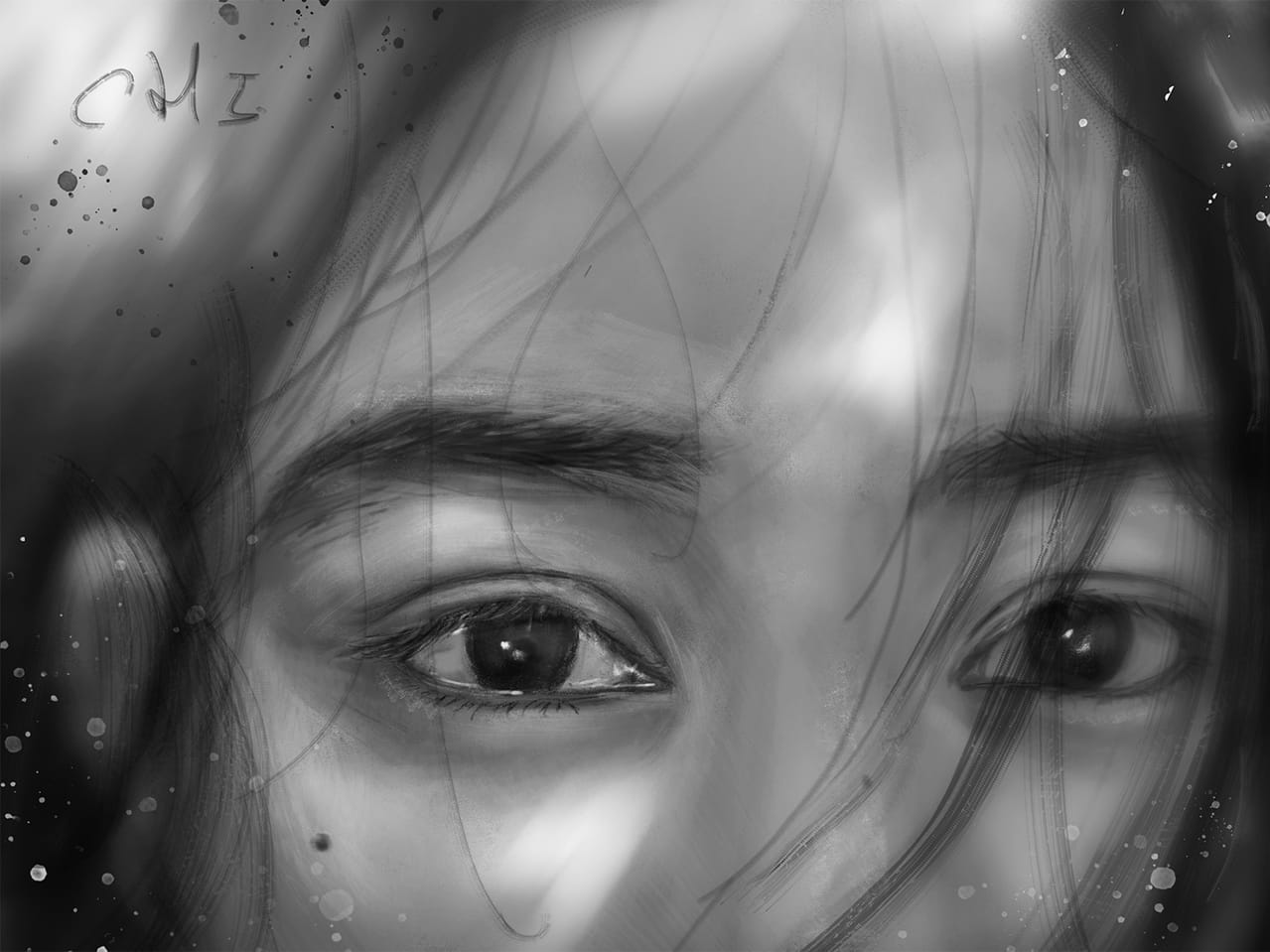 0328EYES-process Illust of CHI-NAI female girl hair eyes illustration impasto tears woman