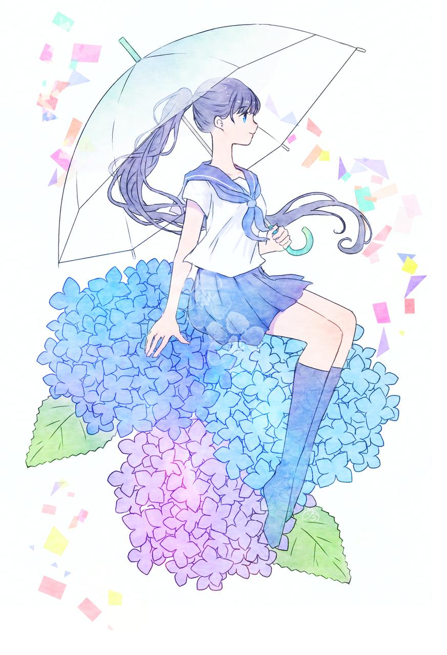 雨模様 Illust of nora uniform 横顔 梅雨 hydrangea original girl umbrella medibangpaint