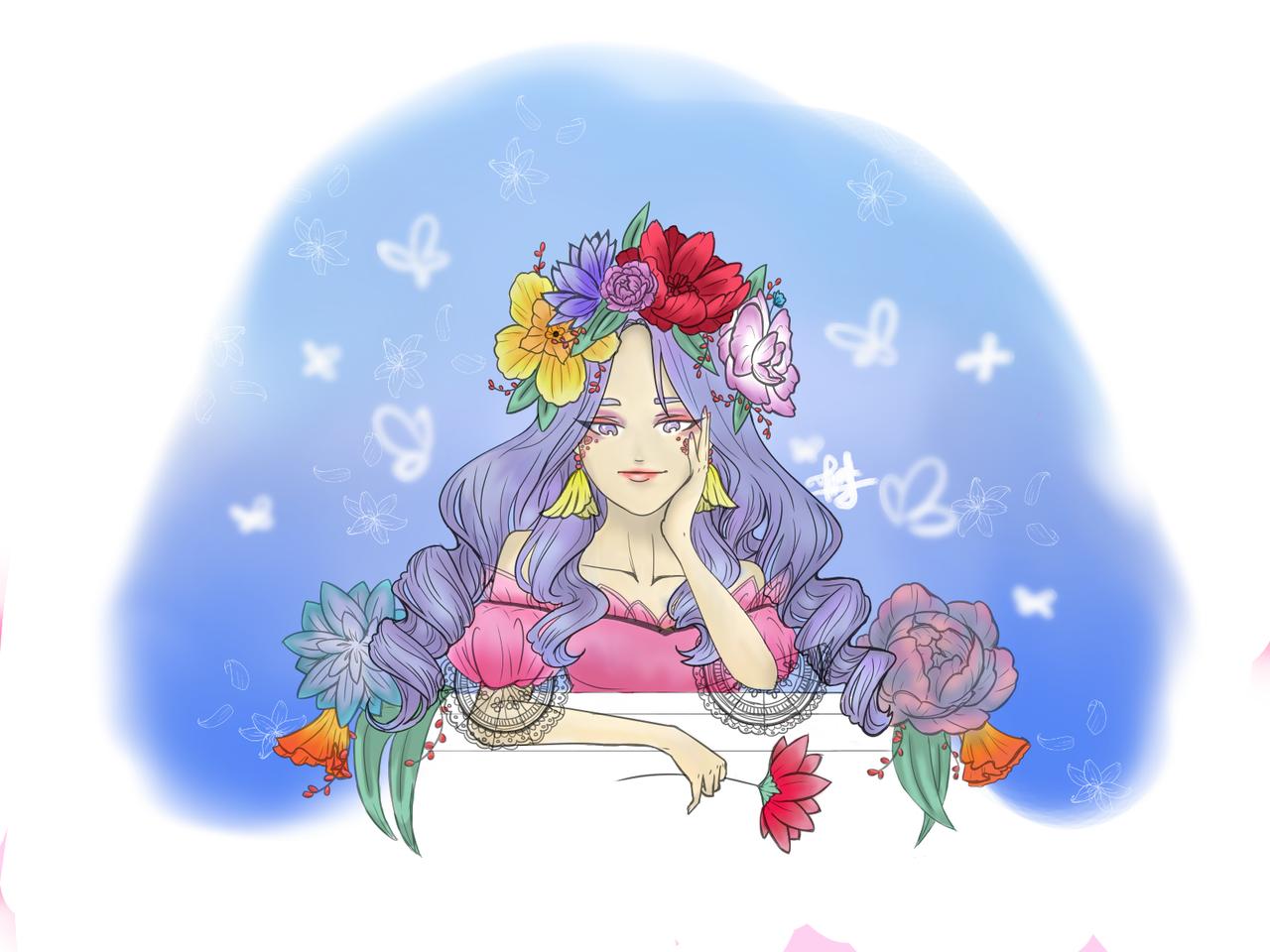 Flower Queen Illust of horangdan April2021_Flower medibangpaint
