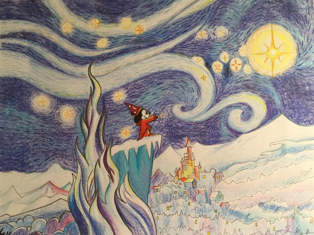 Vangogh - starry night Illust of Dark Angel MasterpieceFanart MickeyMouse handdrawn starrynight