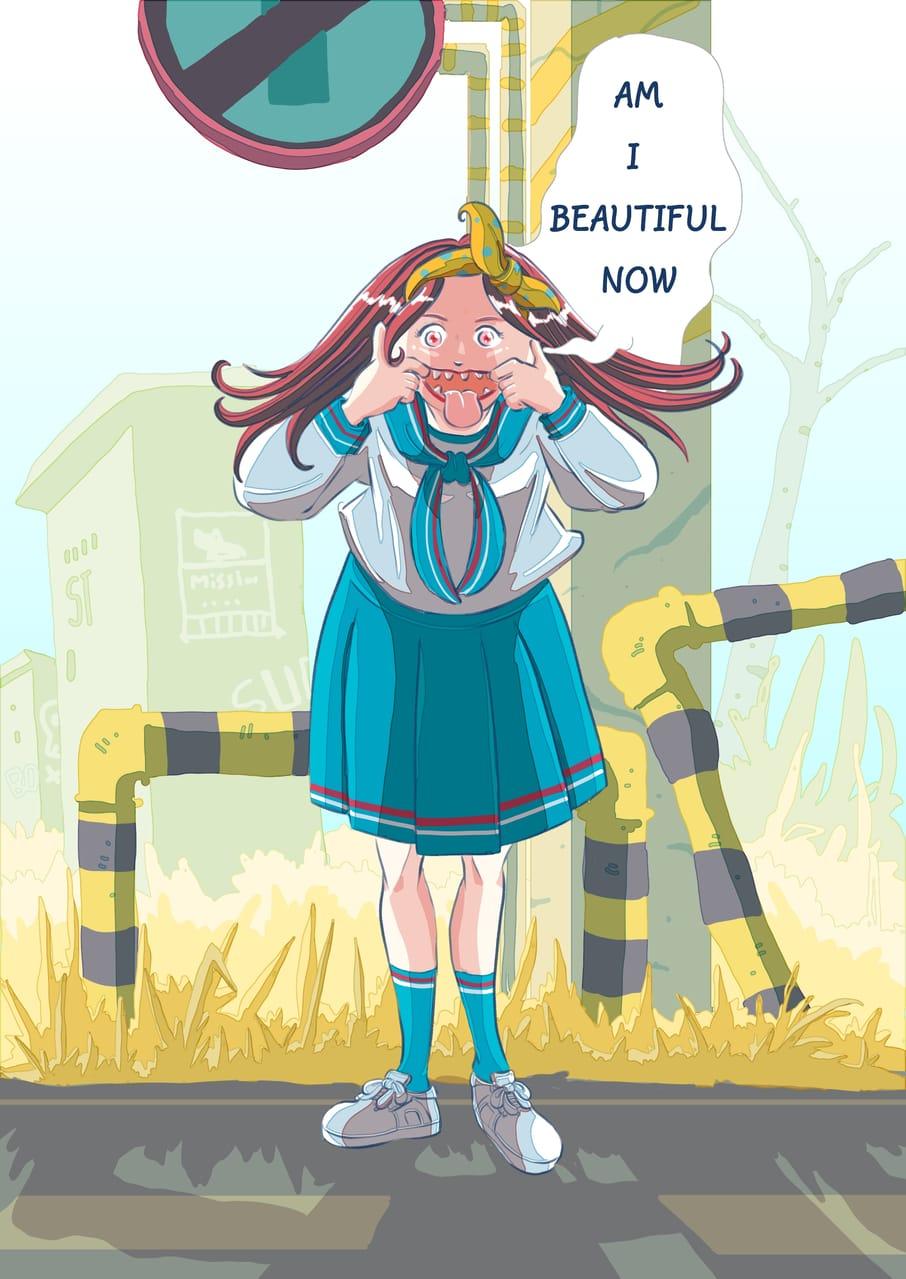 Kuchisake-onna (Slit-Mouthed Woman) Illust of Wutikai March2021_Creature girl Japanese_style cutegirl oc youkai monster