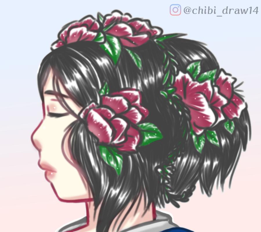 Flores. Illust of Karenhc April2021_Flower art beautiful drawing color digital anime illustration animegirl oc original