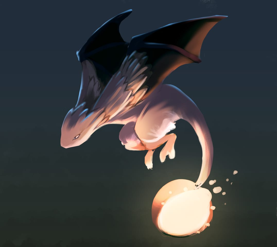 Dragos - Fireblending Magic Holder Illust of Perklineart March2021_Creature magic Comics power night anime dragon lighting fire dark