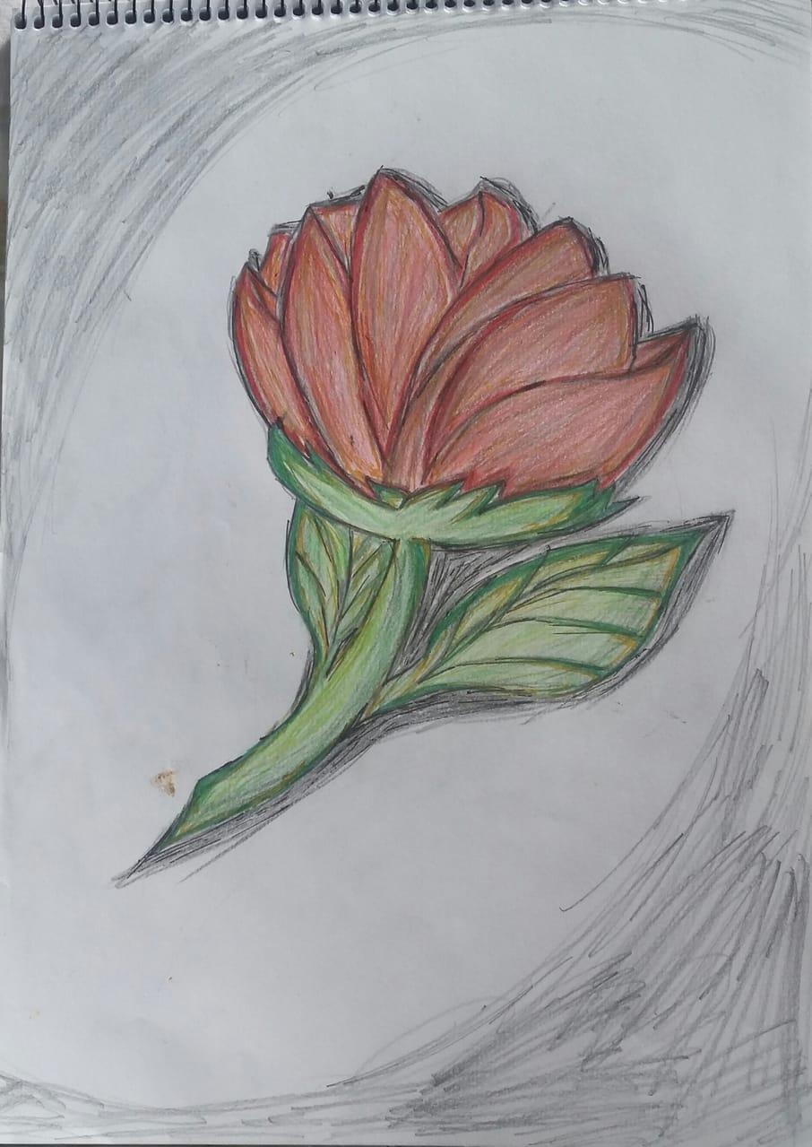 Illust of Ra-chan April2021_Flower flower red gray green