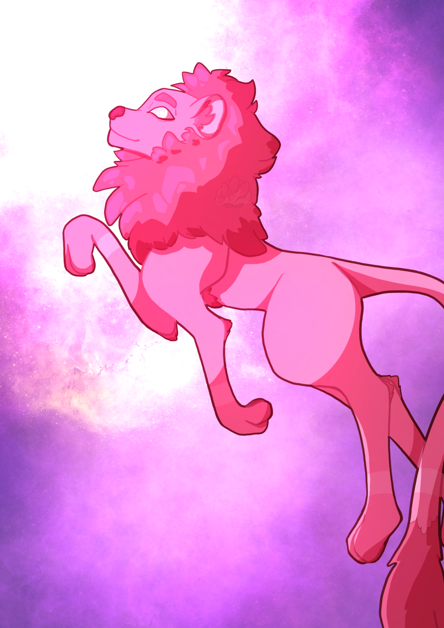 Luumen Illust of Custard oc space Lion pink