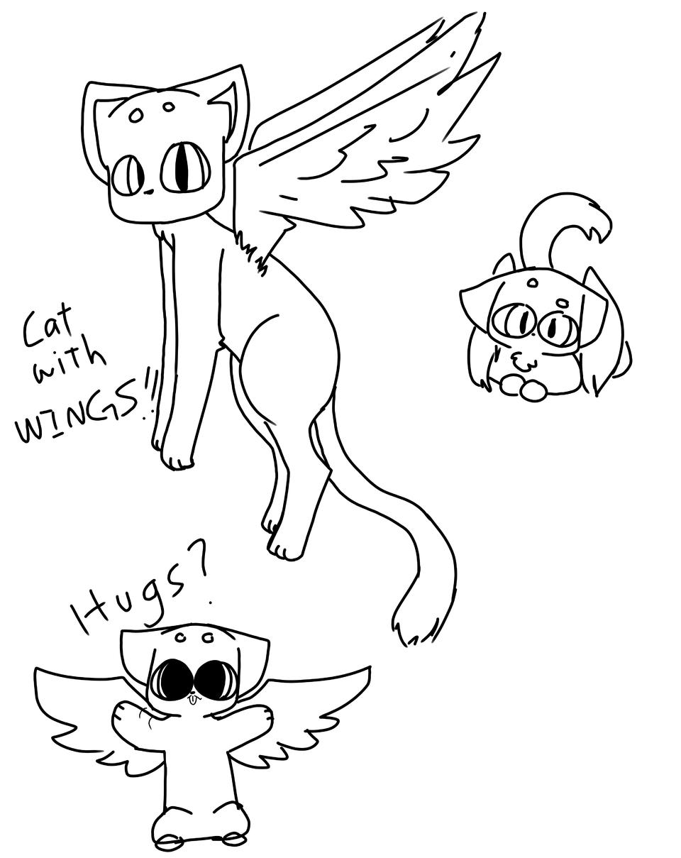 Got bored :P Illust of Weird Kiddo medibangpaint cat catwithwings sketch