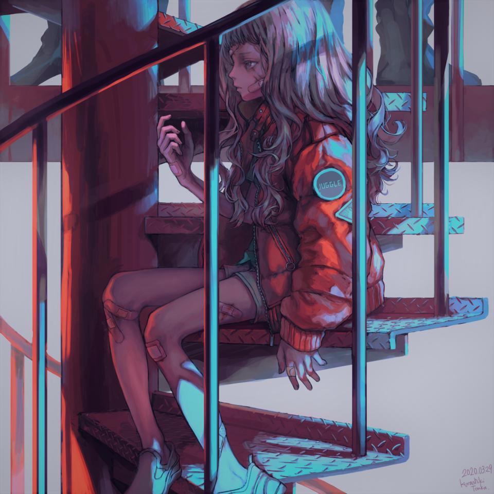 鉄のきざはし Illust of 倉敷藤花 medibangpaint girl 螺旋階段 original