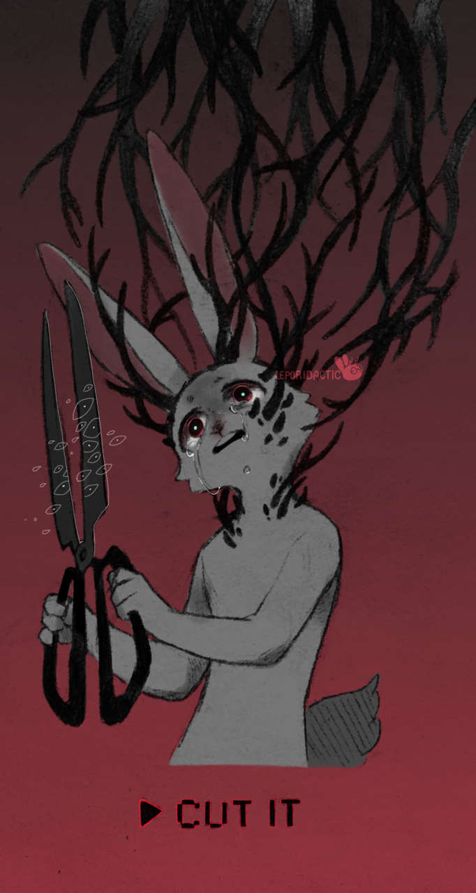 [Slight body horror] I AM MY OWN Illust of Leporidactic fursona dark bodyhorror furry jackalope