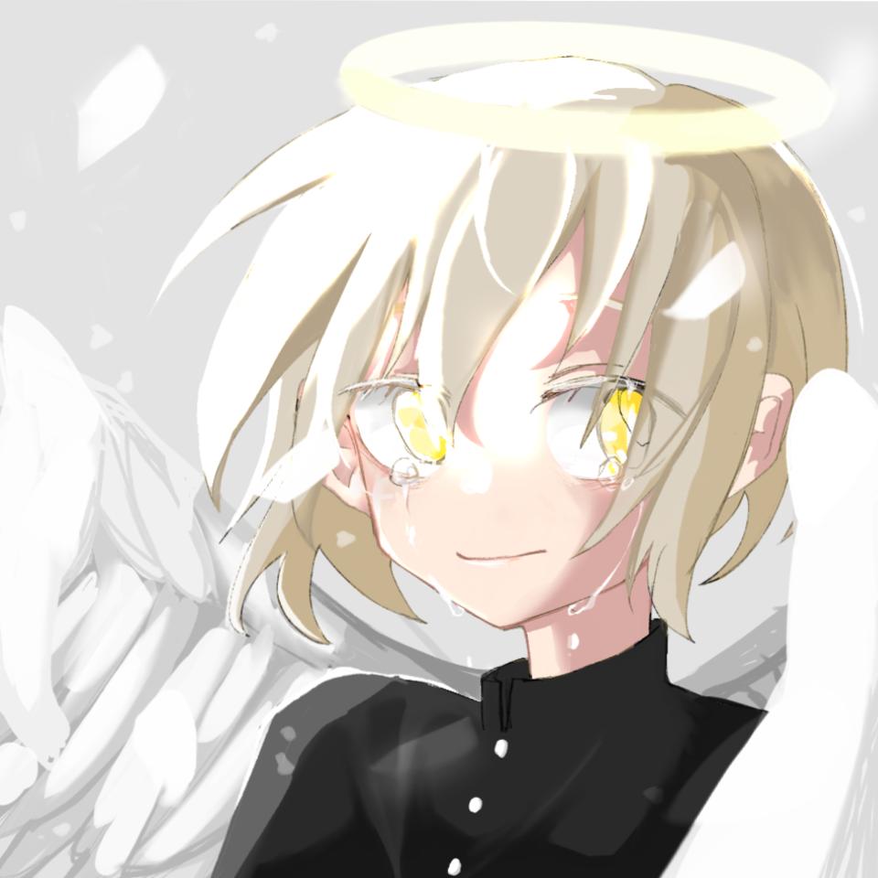 angel Illust of Pomelo June2021_Anthropomorphism yellow angel glow wings blonde tears