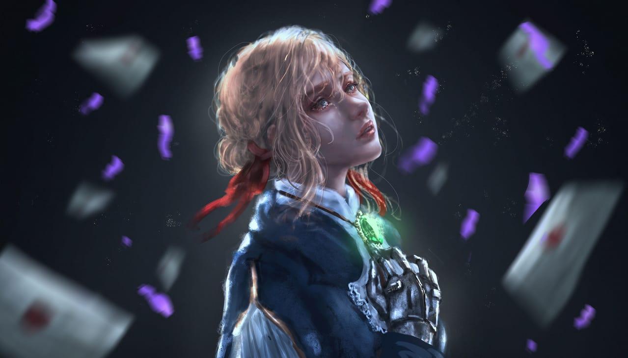 Violet Illust of CHI-NAI illustration girl Violet_Evergarden eyes violet fanart hair flower