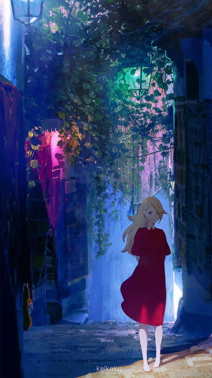 ブルー Illust of けーかく background