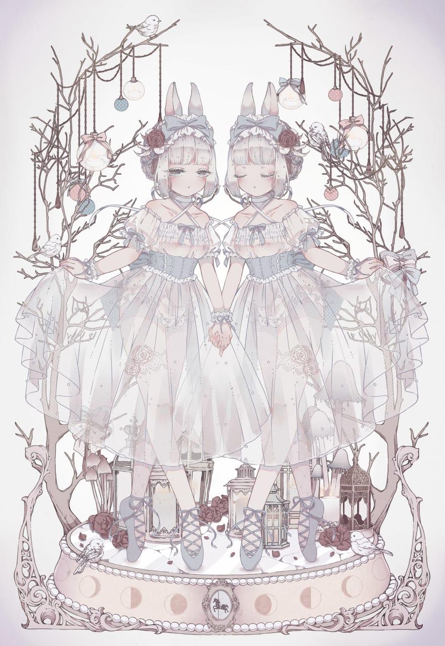 + 寂夜うさぎ + Illust of レイン(っ´ω`c) January2021_Contest:OC Christmas 兔耳 lolita ballet