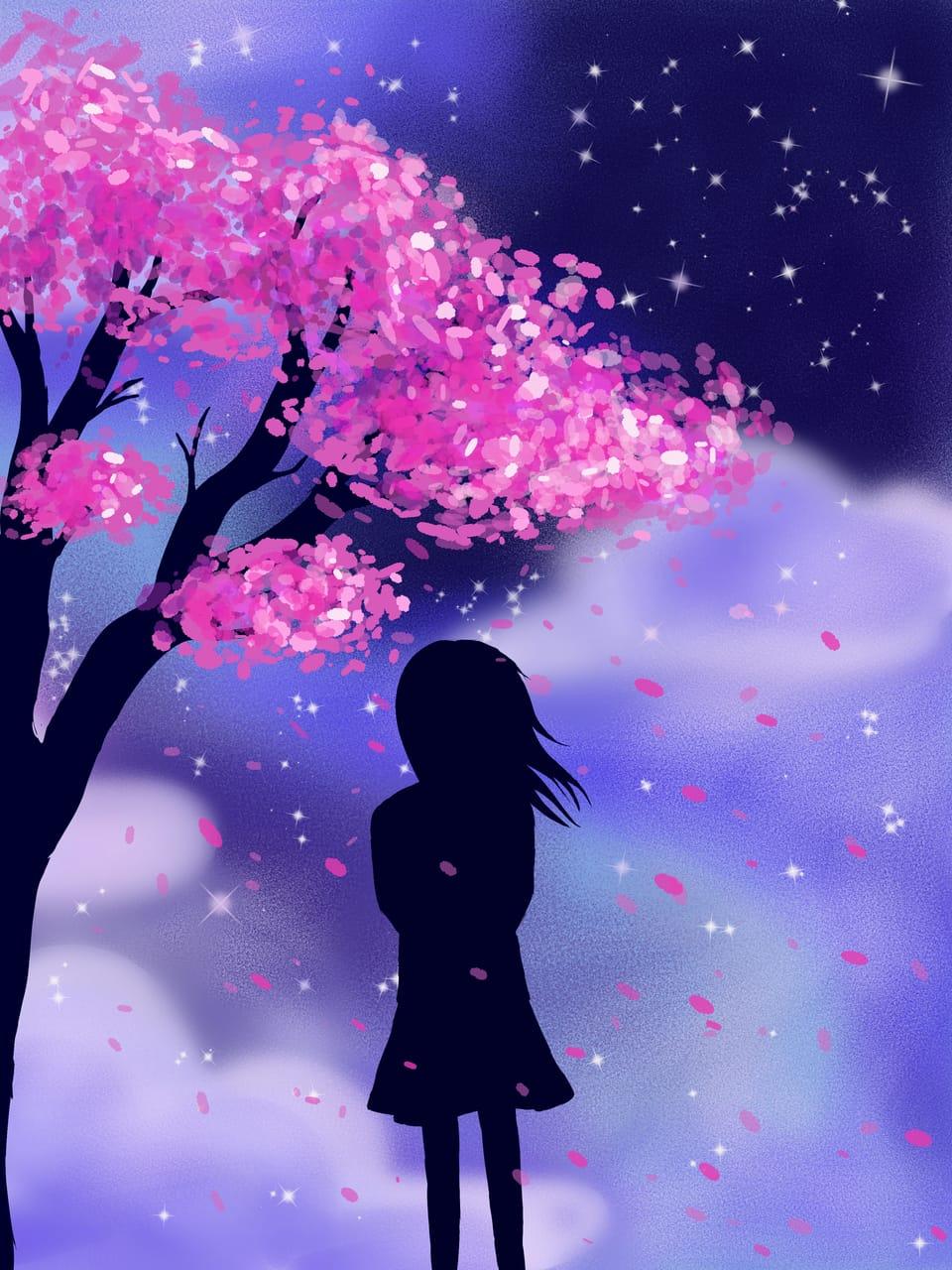 siluet spring Illust of AkaneFin April2021_Flower