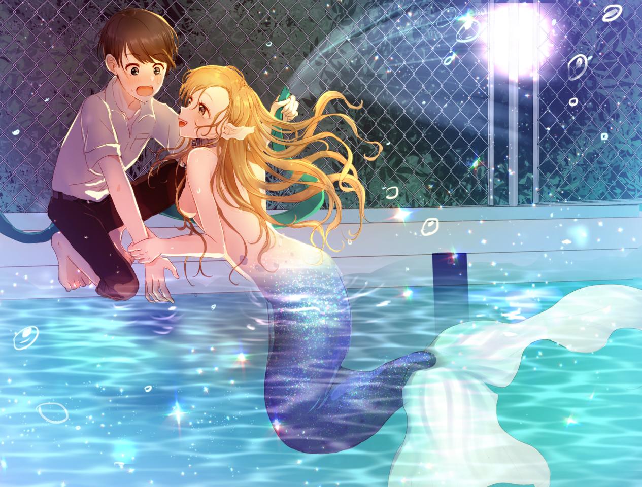 秘密のプールサイド Illust of Peach☆Punch mermaid 学校 プール