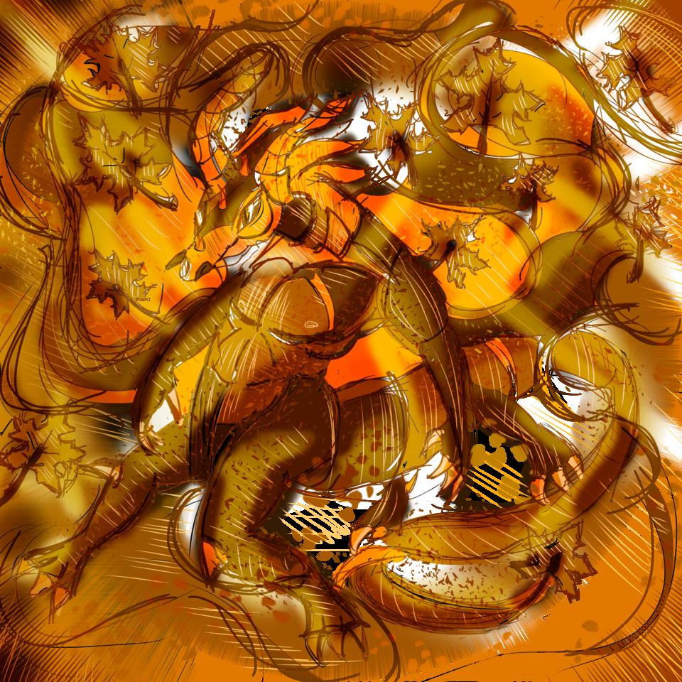 Autumn Dragon Illust of AcP May2021_Monochrome