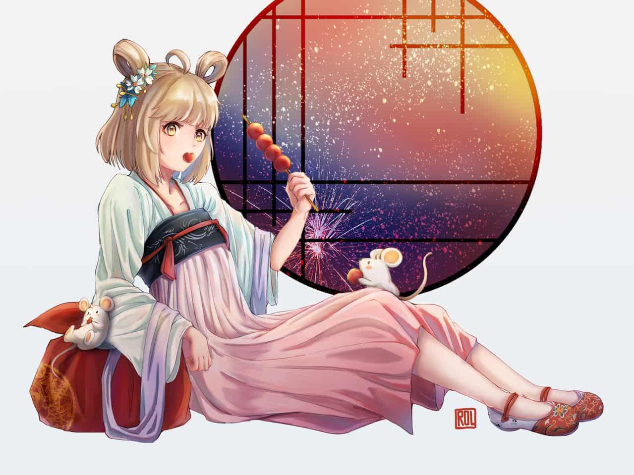 迎春 Illust of Rol洛狸 Jan.2020Contest girl 鼠年 newyear