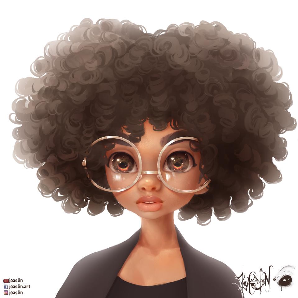 Cute Glasses O-O Illust of JoAsLiN ARTstreet_Ranking glasses curlyhair painting oc original art girl eyes cute anime