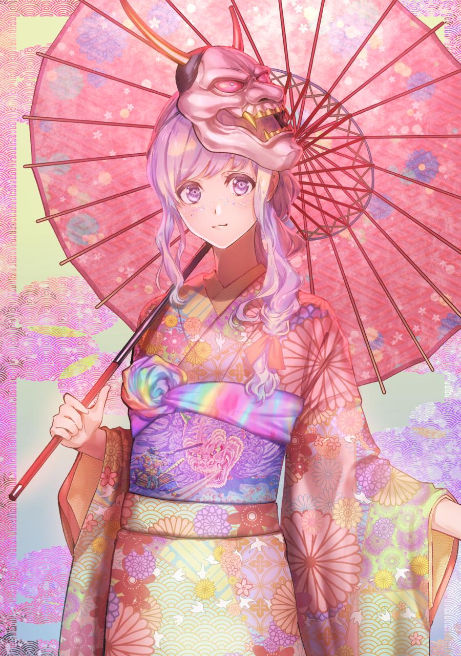 和装女子 Illust of 97 medibangpaint 和傘 和装女子 kimono colorful pink girl 振袖 和装 woman