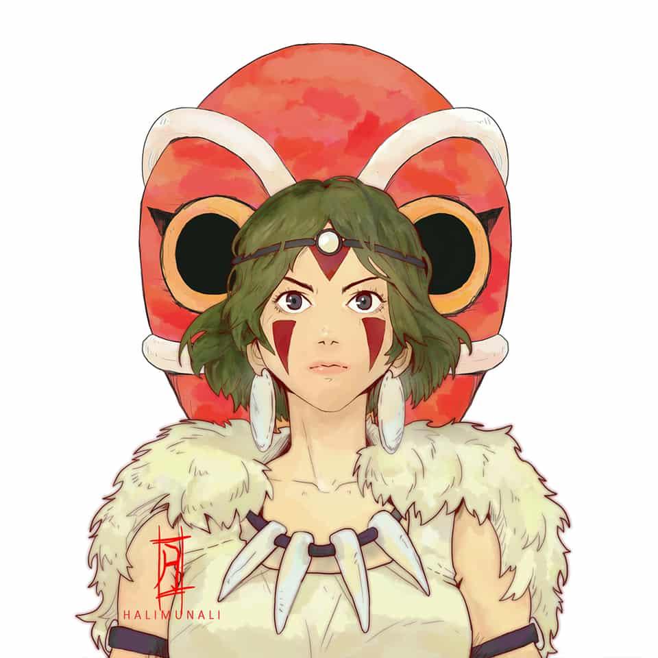 Mononoke Hime fanart by halimunali