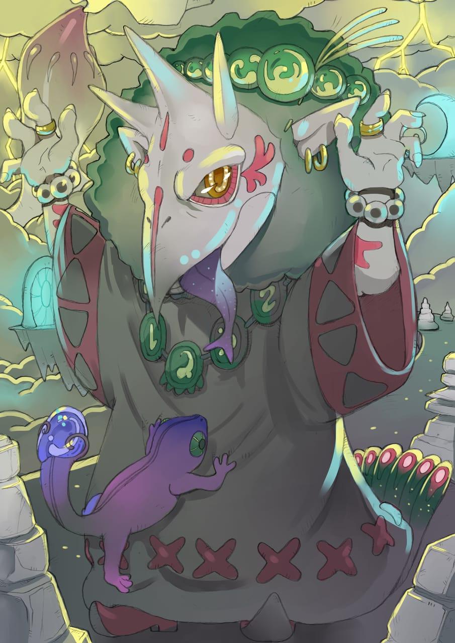 丘を守りし古の怪物 Illust of かみむらあき March2021_Creature monster illustration original