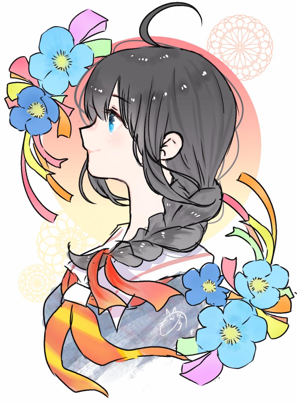 時雨と進水日 Illust of nora medibangpaint 横顔 時雨 KantaiCollection flower