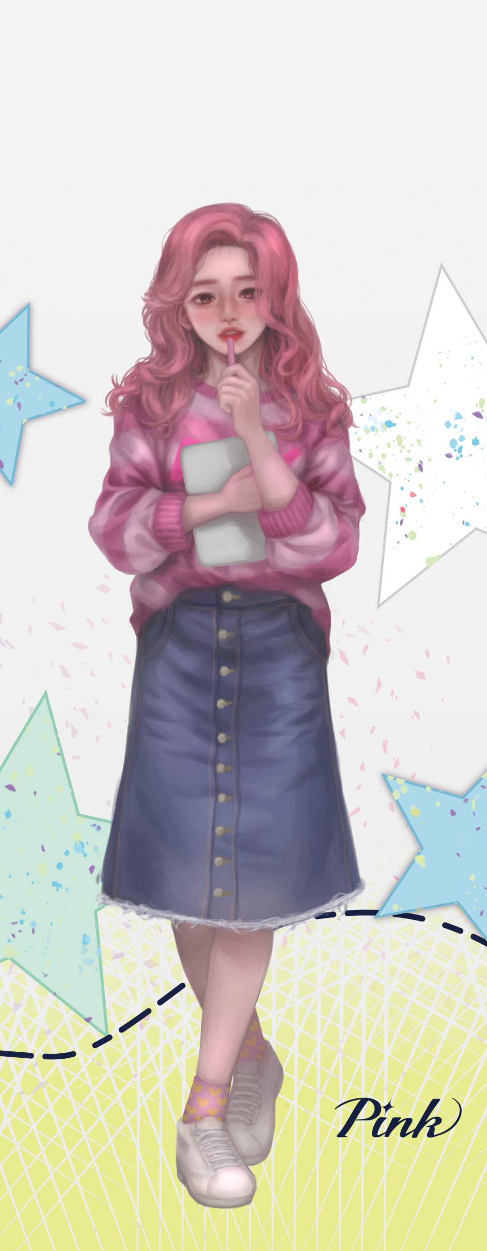 PASTEL SKETCH Package Illustration: Dreaming Pink Illust of ETOK PASTEL_SKETCH pastelpink girl dreaming pink