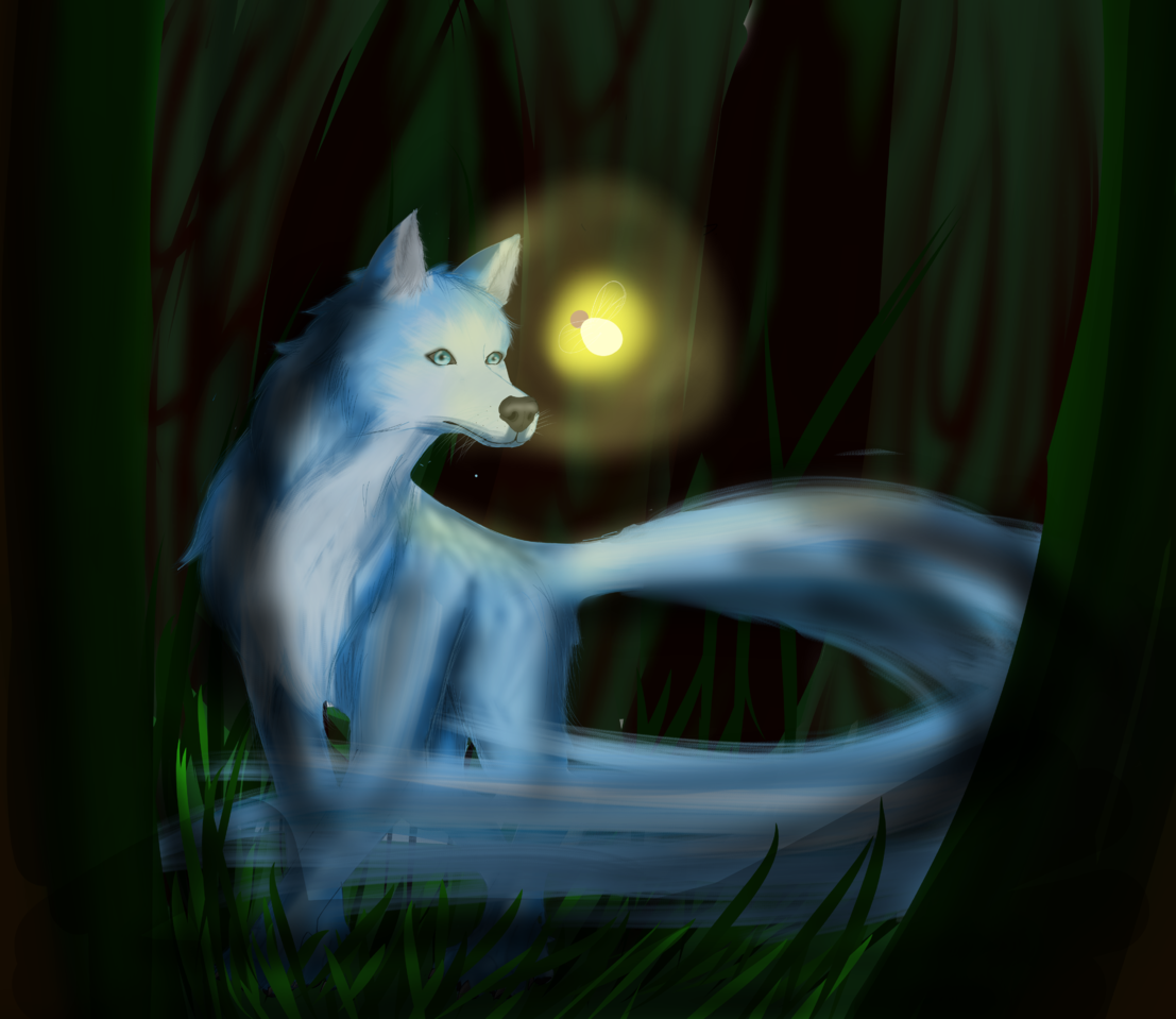 The wolf Illust of Beryl whiterose March2021_Creature medibangpaint forest wolf
