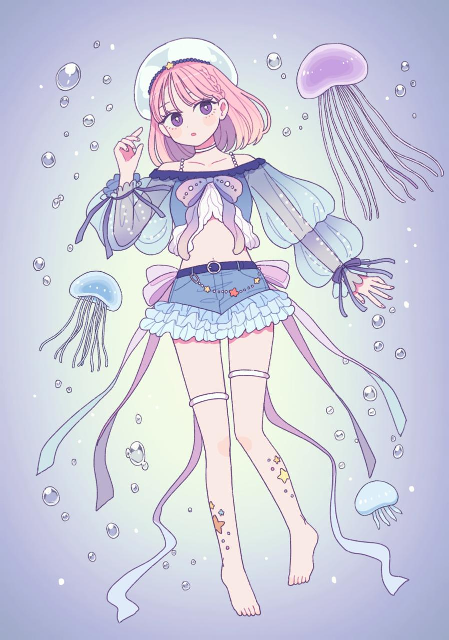 くらげと女の子 Illust of emma January2021_Contest:OC girl jellyfish
