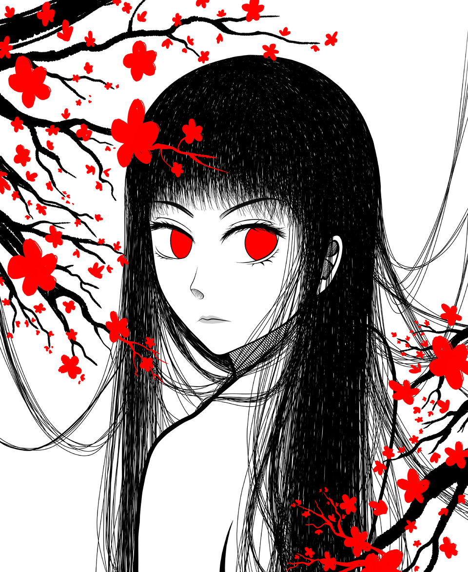 Kitsune Illust of SarahHoshimi Japanese_style oc original girl kimono animegirl youkai black medibangpaint illustration