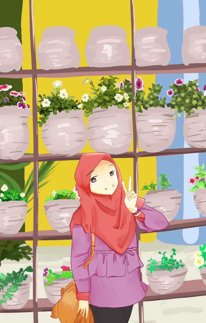 My Love One Illust of Mera Viola medibangpaint flower flowergarden date Hijab girlfriend