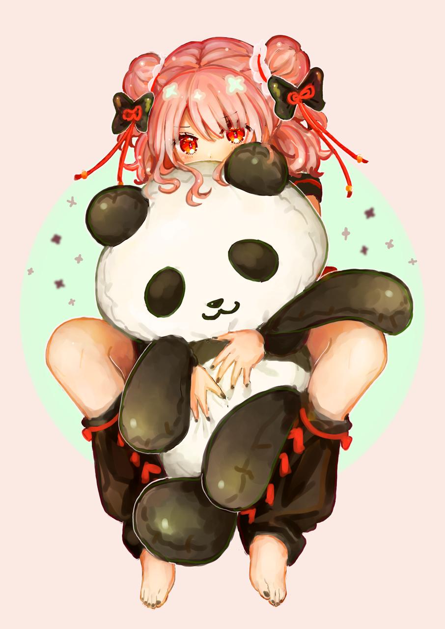 🐼 Illust of もぐらもぐもぐ original ぬいぐるみ medibangpaint girl panda