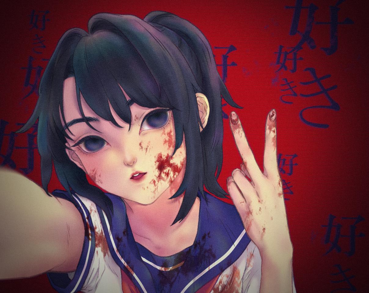 Sick Love Illust of Gratjia YandereSimulatorFanArtContest fanart selfie Yandere profile love CLIPSTUDIOPAINT girl yanderesimulator blood digital