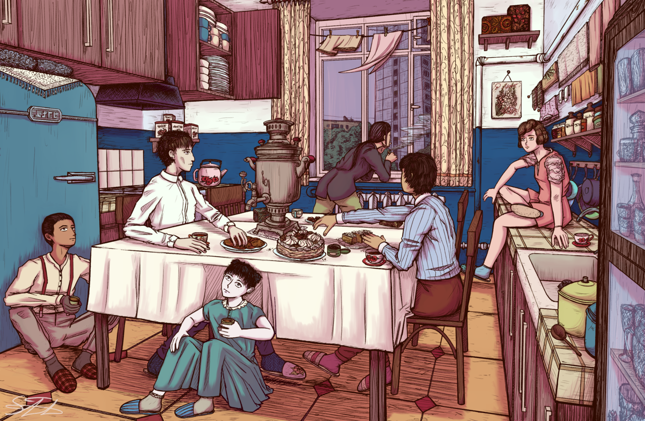 A Group of Friends in a Kitchen