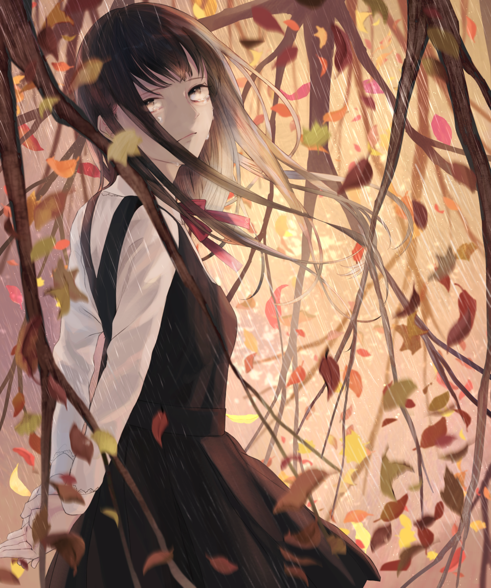 不帰時雨 Illust of 憂ちふゆ(Chifuyu Ui) HumanAcademy_2019 autumn girl schooluniform uniform