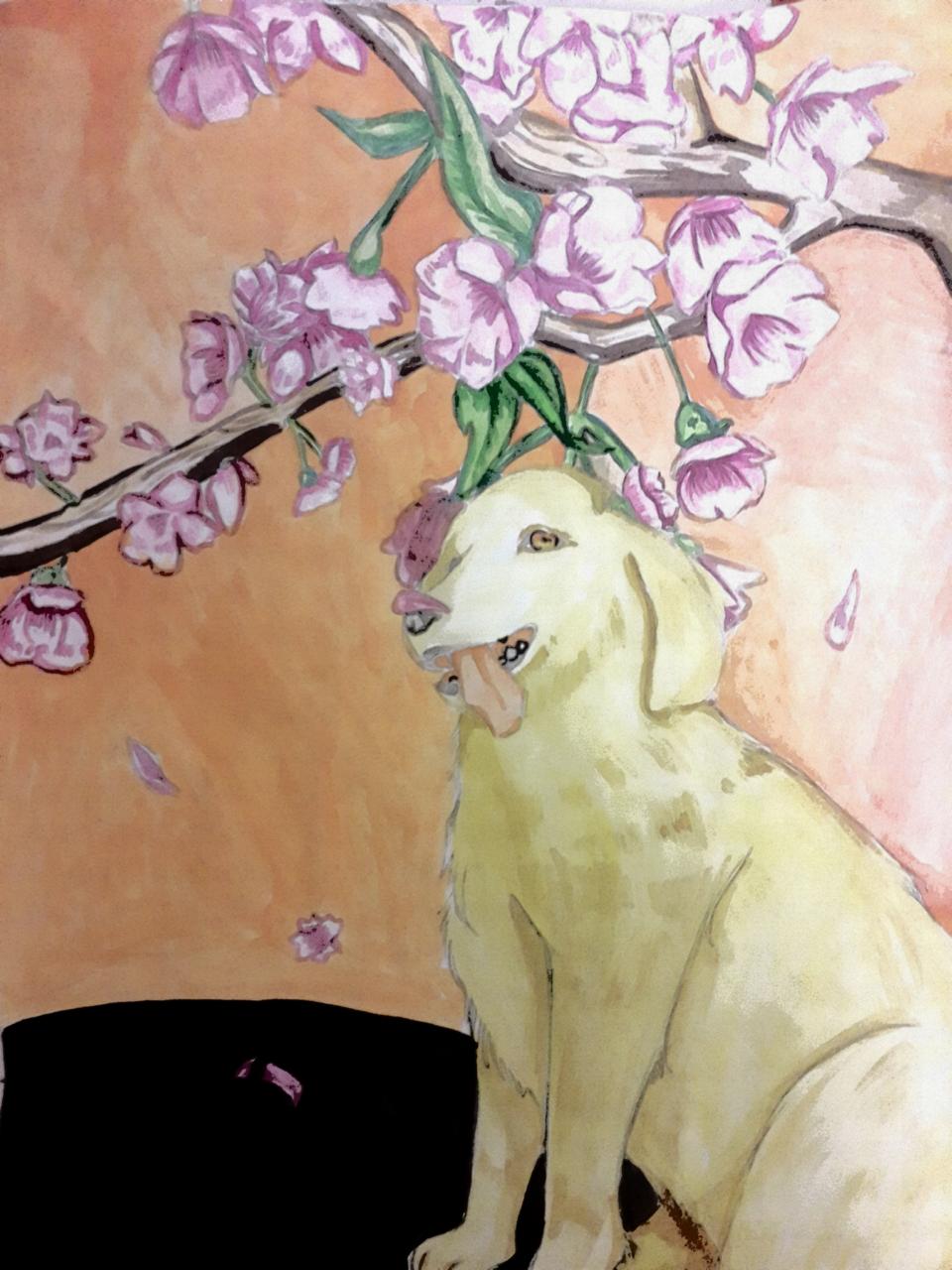 헙..필터했더니..ㄷㄷ..((손 수채화임 Illust of Milk medibangpaint watercolor dog sakura 골든리트리버
