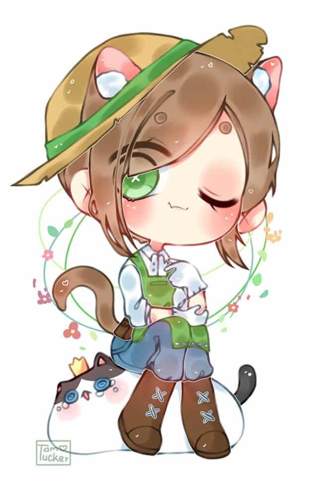 I draw emma. Do you like her?  Illust of Tam Tucker chibi cat_ears emma anime digi