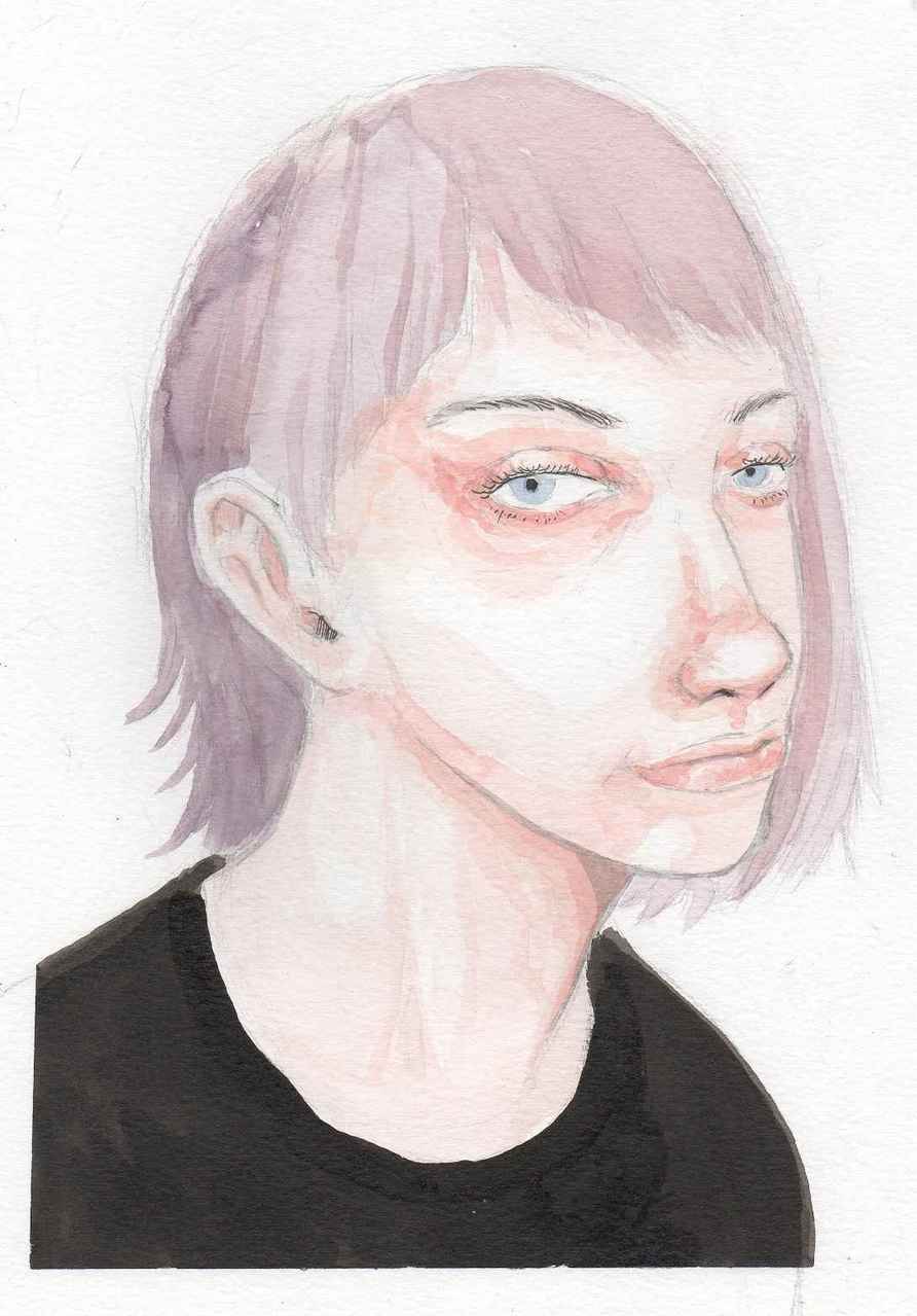 Girl Watercolor Illust of Hard-Jaw illustration girl dessin ink color watercolor paint portrait