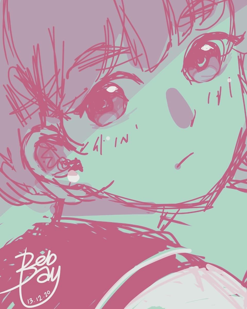 Quick sketch on phone Illust of Beb bay 手机绘 girl :) Girls medibangpaint Phonedrawing shorthair