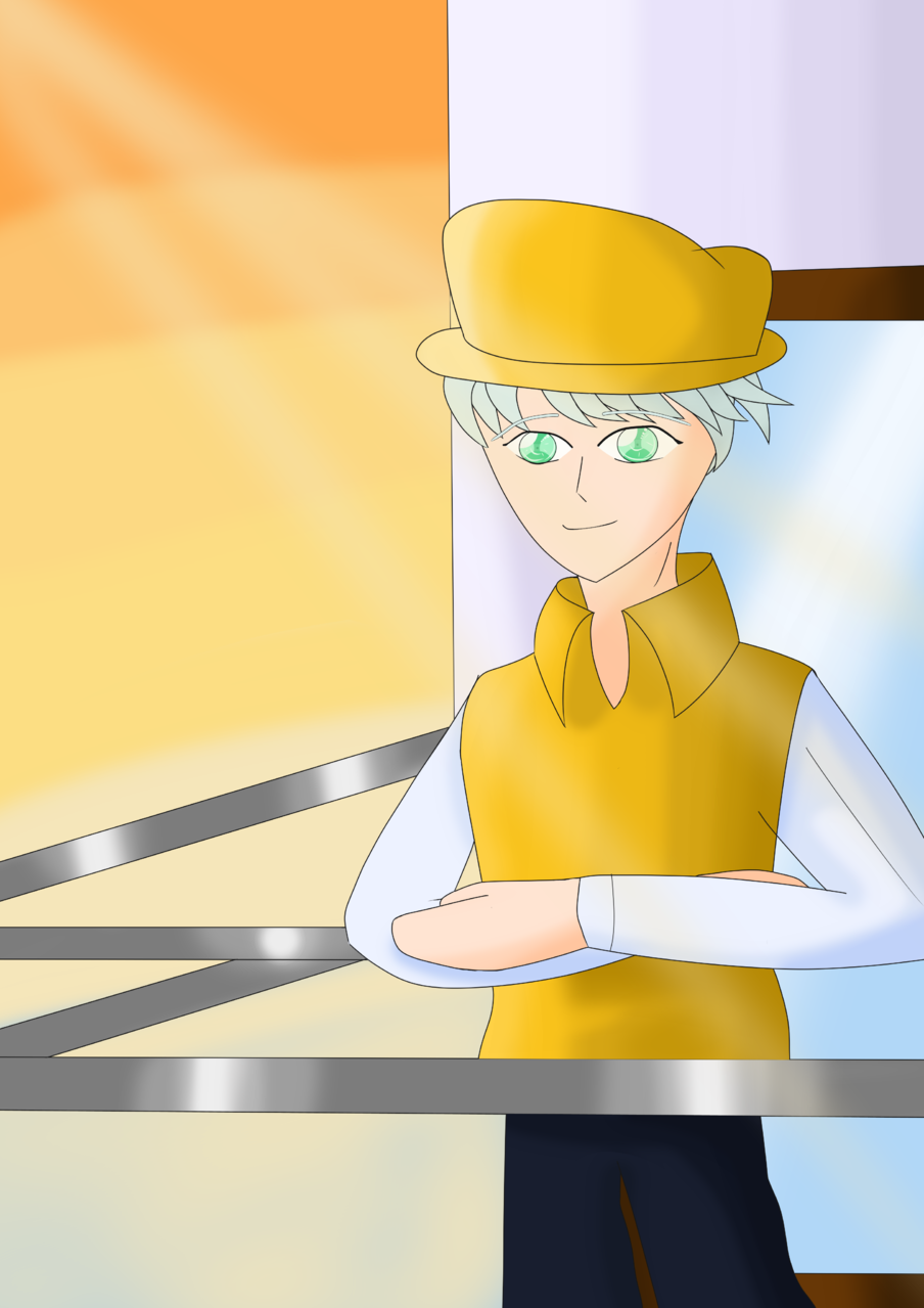 Morning view - By Drew Illust of ♦𝔻𝕣𝕖𝕨_𝔸𝕣𝕥𝕤♦ anime sky Drew_Arts oc character illustration morning boy