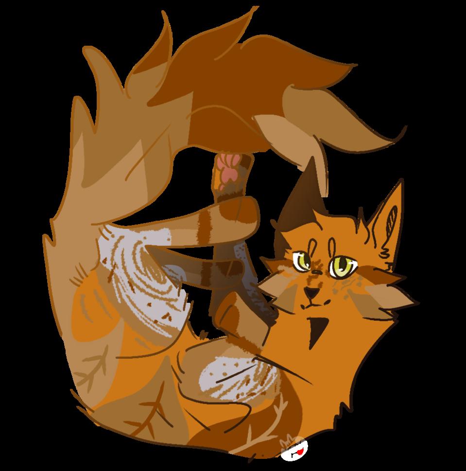 Adopt payment 2/3 Illust of Skye Finch (•♬• sᴏᴄᴋ-ʙᴀɪᴛ™ •♬•) medibangpaint leaves leag cat owed feral fluffy payment curled feline