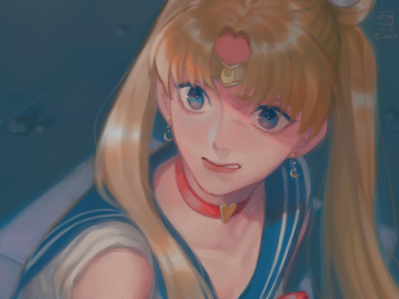 Sailor Moon Redraw Illust of Akn blue illustration painting UsagiTsukino medibang sailormoonredraw PrettyGuardianSailorMoon
