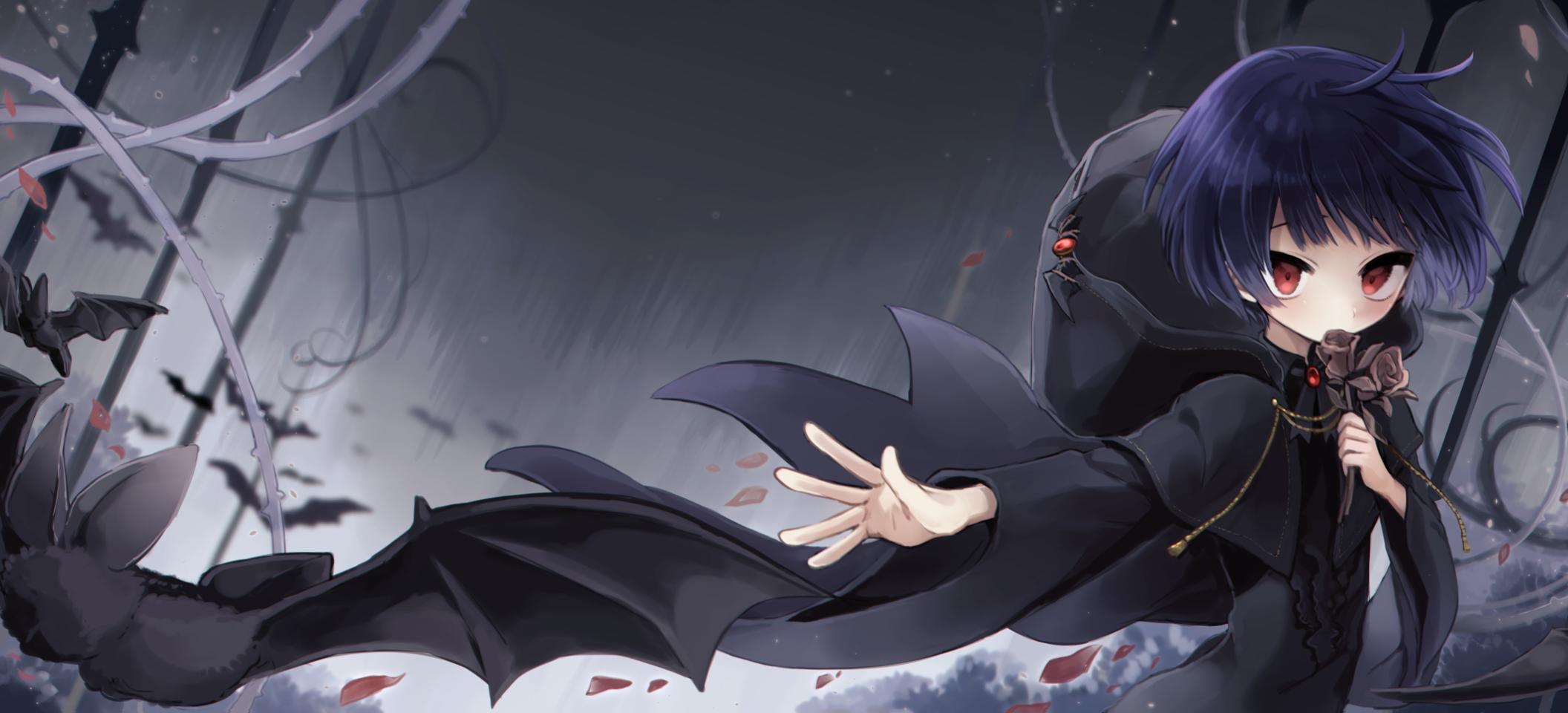 枯薔薇 Illust of 篠谷すみっこ black 仕事絵 gothic rose コウモリ