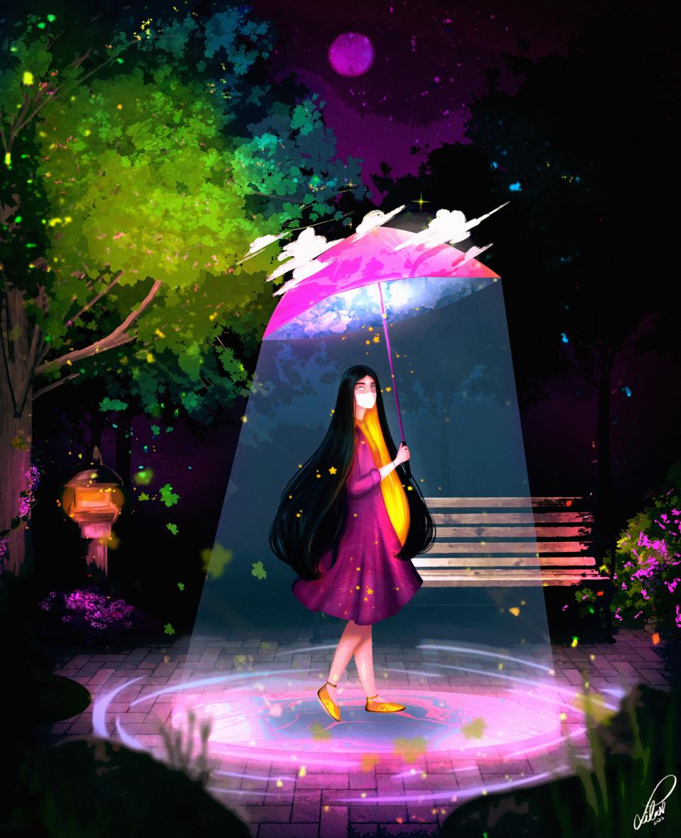 UMBRELLA  Illust of lilavendree fantasy art fantasyart scenery star original illustration umbrella originalart night